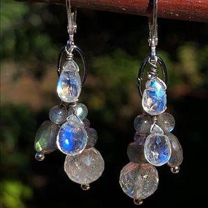 Genuine Moonstone & Labradorite Gem Earrings!